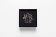 Pablo Armesto, Gravitacion, 44 x 44 cm, mixta sobre neopreno, pirograbado y fibra óptica y led, 2017