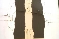 <strong> Amadeo Gabino </strong> SIN TÍTULO 70 x 70 cm, Pirograbado y collage.