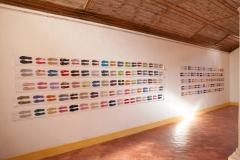 Ana Pérez-Quiroga, Aprés, 520 x 35 cm, Suelas de colores en algodón con texto impreso, 2009