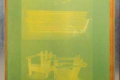 Ana Pérez-Quiroga, BQ#8 Universo Doméstico 01, 140 x 100 cm, cuadros de serigrafía, aluminio y red amarilla de poliéster, emulsión Dirasol 915, luz LED, acrílico blanco opaco, 2018