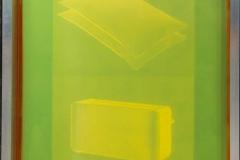 Ana Pérez-Quiroga, BQ#8 Universo Doméstico 02, 140 x 100 cm, cuadros de serigrafía, aluminio y red amarilla de poliéster, emulsión Dirasol 915, luz LED, acrílico blanco opaco, 2018