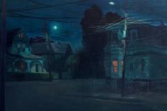<strong> Guillermo Oyágüez</strong> NOCHES SOLITARIAS ( Boston, Massachussets) 100x250cm, Óleo sobre lino