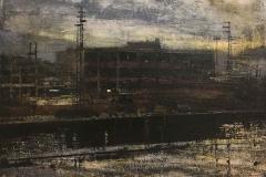 Alejandro Quincoces, La fábrica abandonada, 85 x 85 cm, óleo sobre madera